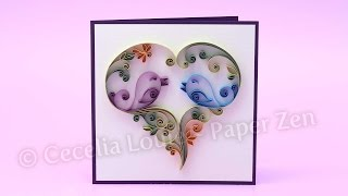 Quilling Love Birds Anniversary Card