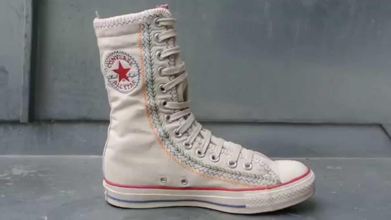 #Converse Chucks All Star Chuck Taylor Sneakers 1U409 Stickerei Beige Weiss XHI