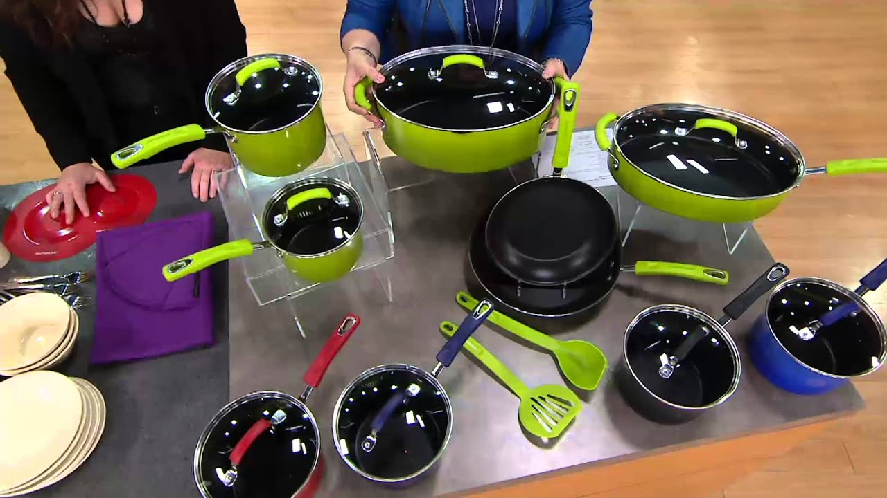 rachael ray 12pc gradient porcelain enamel cookware set on qvc youtube