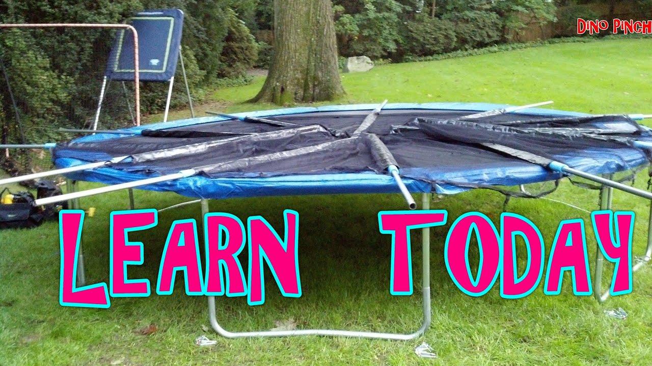 backyard trampoline assembly - YouTube