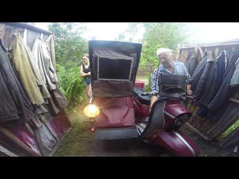 Обзор мотороллера Вятка с самодельной коляской.