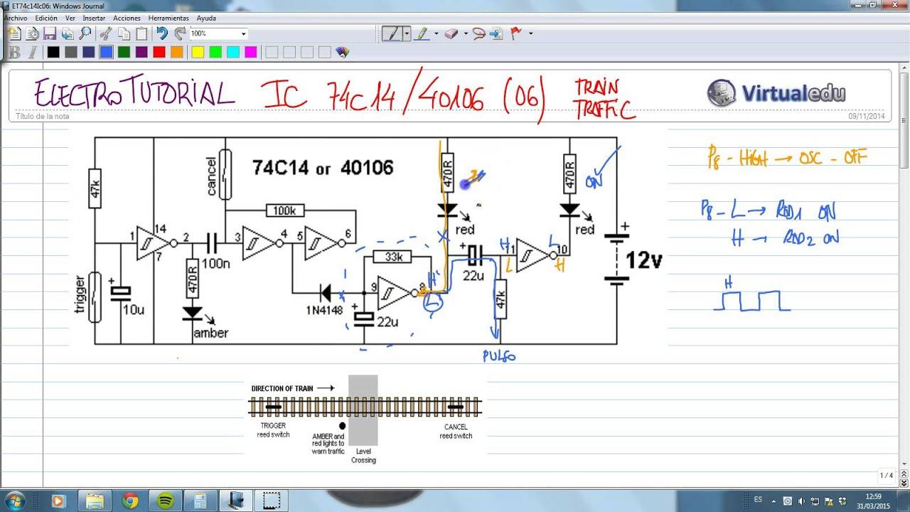 ElectroTutorial 732 IC 74c14 / 40106 (06) Train Traffic