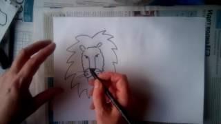 как нарисовать голову льва и тигра