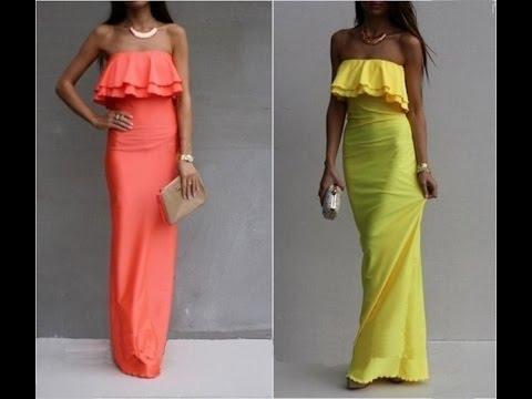 платье широким воланом оборками слэш открытыми плеч. - YouTube