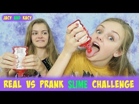 Thumbnail: Real vs Prank Slime Challenge ~ Jacy and Kacy