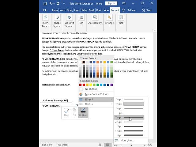 Tutorial Belajar Kursus Komputer Ms. Word Surat Perjanjian Eksklusif Agensi Jual-Beli Properti/Rumah