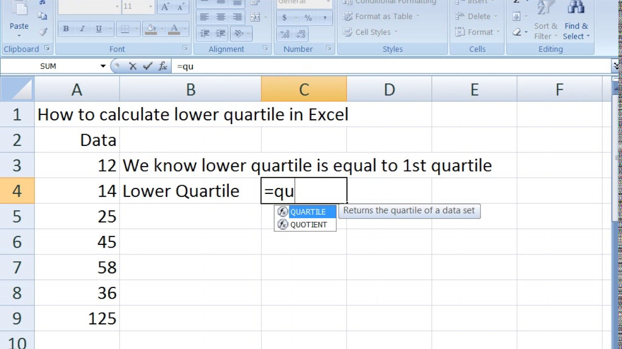 How to calculate lower quartile in Excel - YouTube