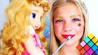 Maggie and Shanti pretend play Makeup toys