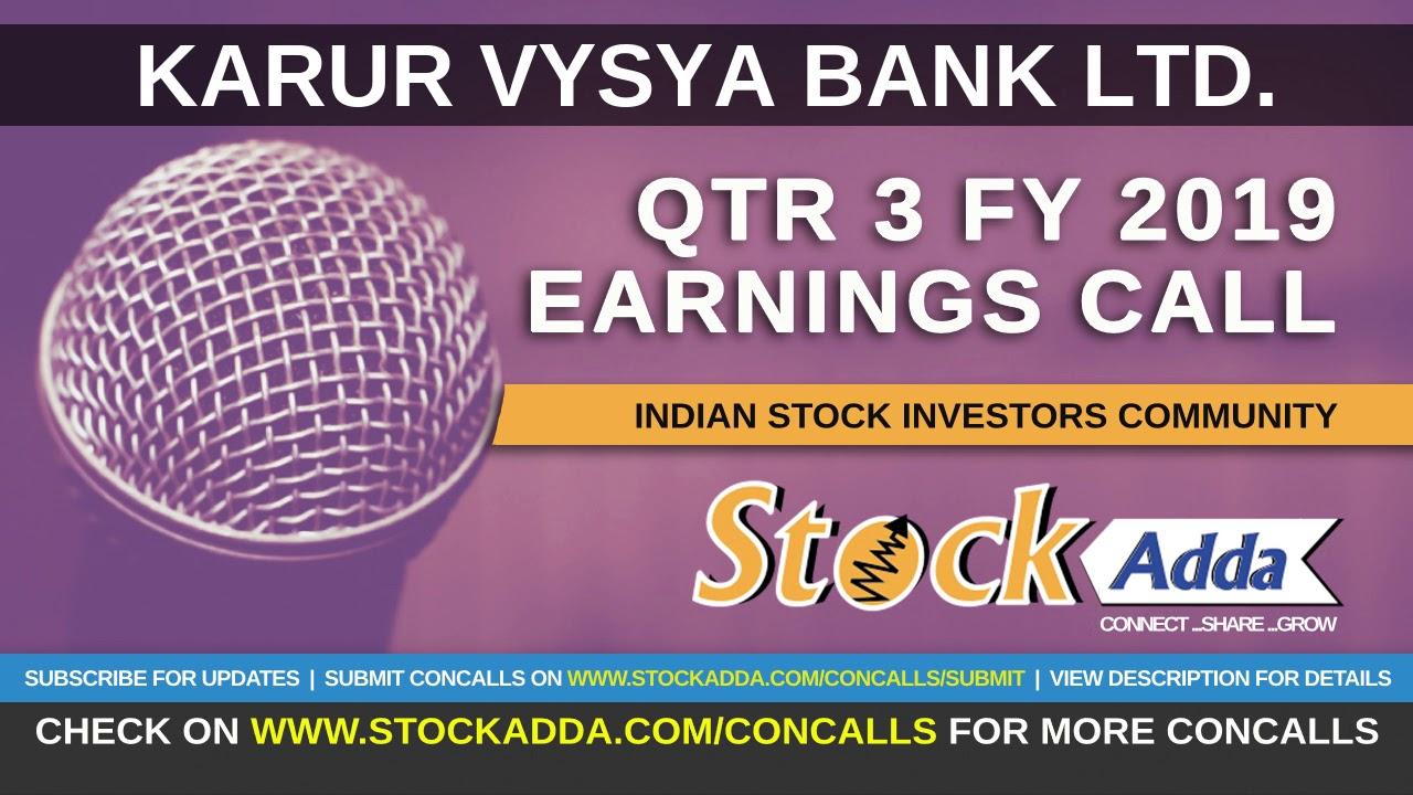 Karur Vysya Bank Ltd Investors Conference Call Qtr3 FY19