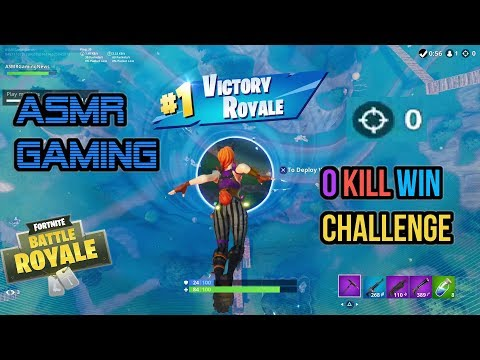 ASMR Gaming   Fortnite 0 Kill Win Challenge Relaxing Slow Game ★Controller Sounds + Whispering☆