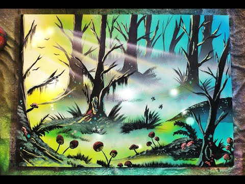 Mushroom Forest – Spray Paint ART TUTORIAL – Sacha Walker Art