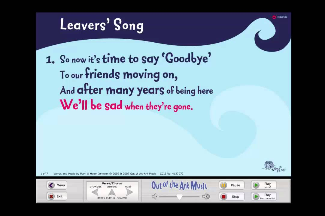 Leavers 39 song words on screen original leavers for Schoolhouse music