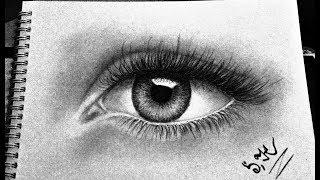 Как нарисовать глаз и густые, длинные ресницы карандашом. Урок рисования.