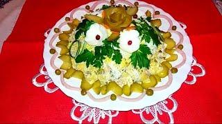 """Салат """"Оливье"""" на  Новый год ,Рождество и не только... Украшение праздничного блюда."""