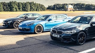 BMW M5 vs Mercedes-AMG E63 S vs Porsche Panamera Turbo S | Drag Races | Top Gear