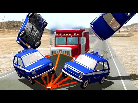 TINY POLICE TAKE DOWN UNSTOPPABLE VEHICLES - BeamNG Drive Police Car Chase