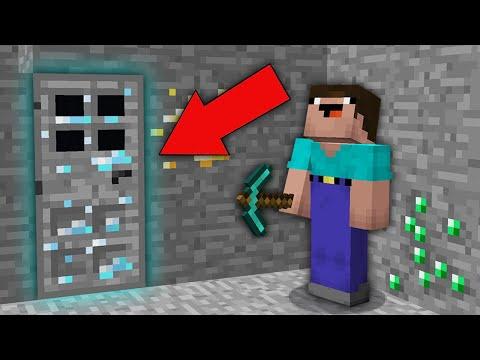 Minecraft NOOB Vs PRO: NOOB DIGGING MINE BUT FOUND SECRET DIAMOND ORE DOOR! Challenge 100% Trolling
