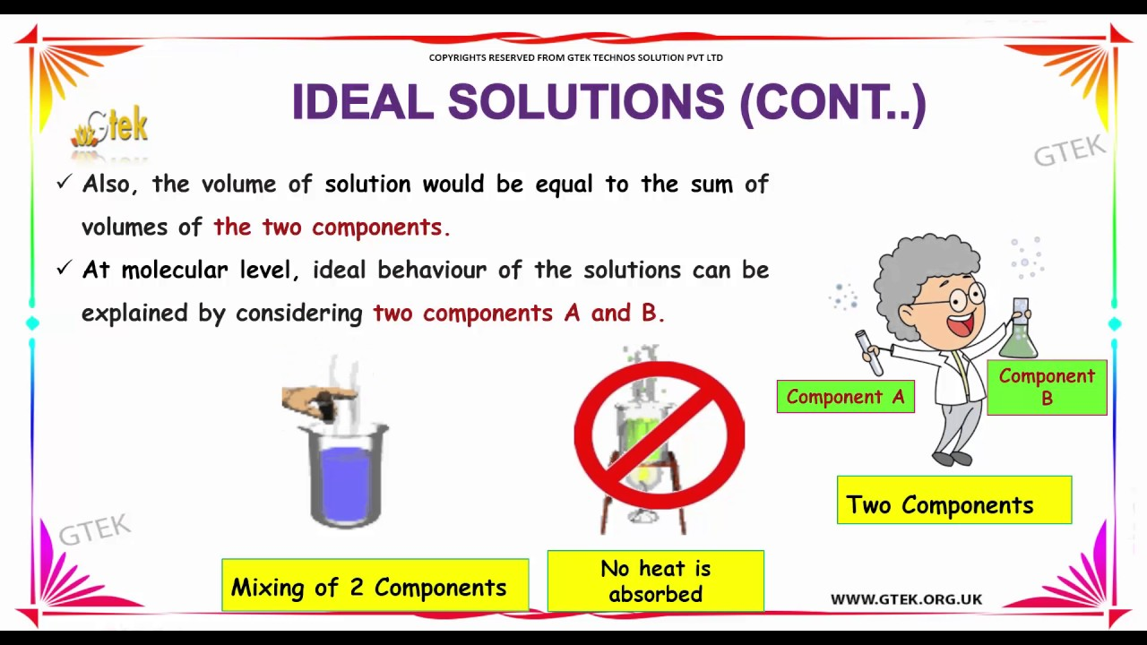 ideal and non ideal solutions solutions class 12 chemistry subject