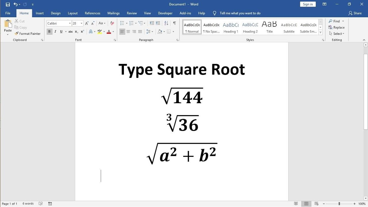 How to type square root in ms word 10