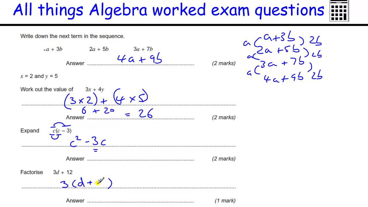 Algebra Gcse Maths Revision Foundation Exam Worked