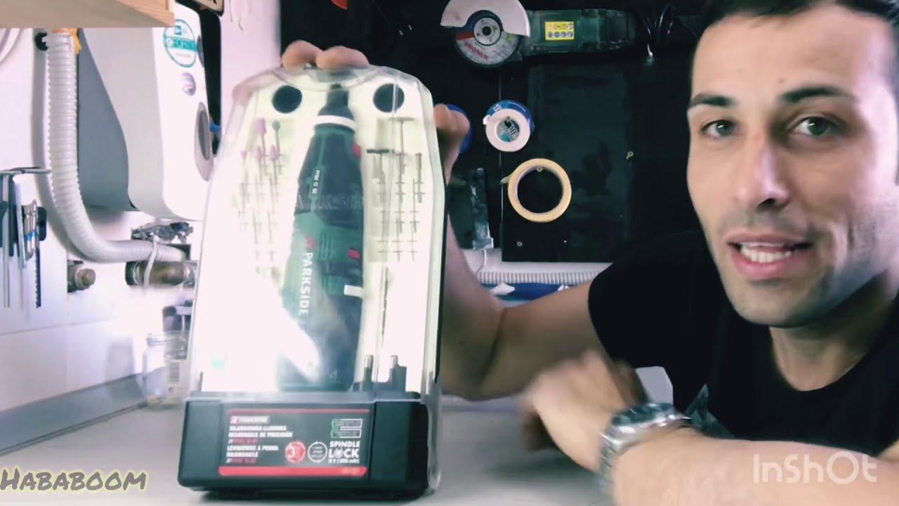 5 pinzas para taladrar Herramienta de lijado rotativa inal/ámbrica recargable Parkside modelo PFBS 12 B4 5000-25000rpm 12v 44 accesorios fresar pulir esmerilar cortar y grabar limpiar