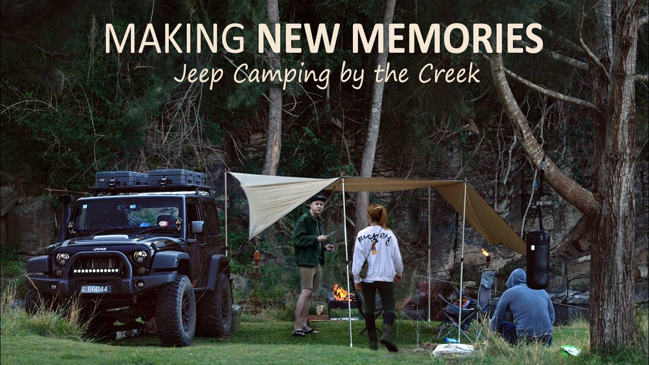 Birthday CAMPING in our Favourite Camspot [Creek sounds, Campfire food, Jeep Car camper] SoC 14