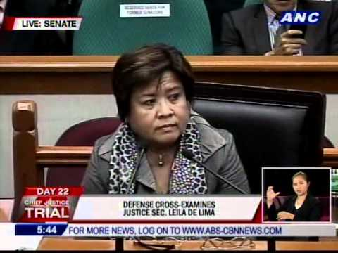 Cross examination of Justice Secretary Leila De Lima
