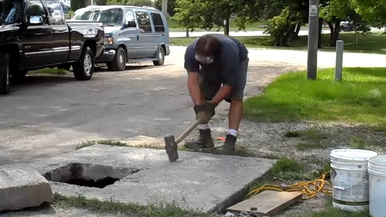 Breaking Concrete the old fashioned way # 1 - YouTube
