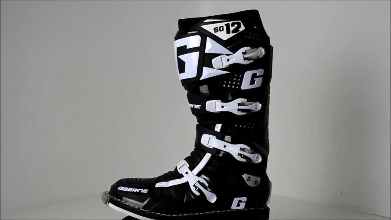 Gaerne Boots Sg12 >> 2012 Gaerne SG12 Black Motocross Boots - 360° Video - YouTube