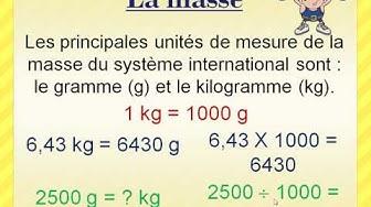 La masse et le poids (grammes et kilogrammes)