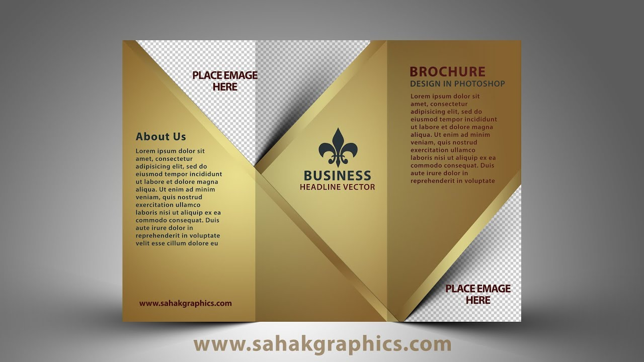 Tri fold brochure design photoshop cc tutorial golden for How to design a brochure in photoshop