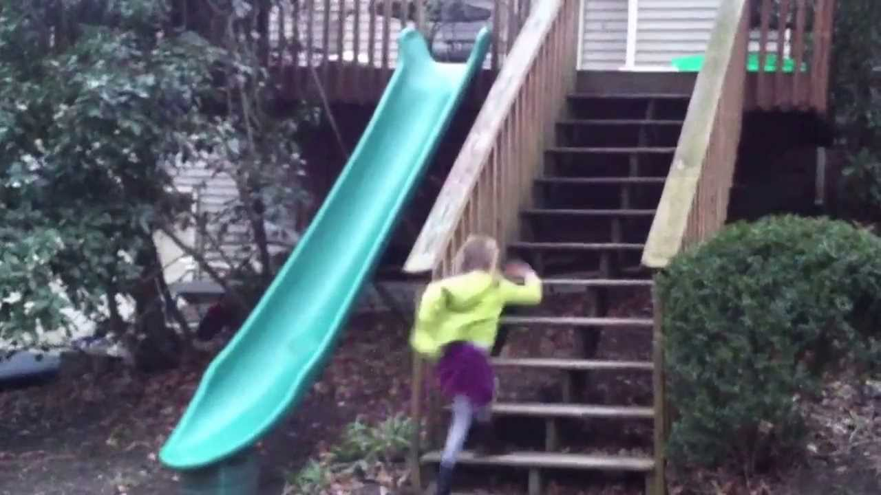 Installed A Fun Plastic Slide Off Our Back Deck 14 Ft
