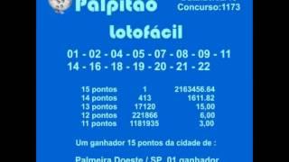 LOTOFACIL CONCURSO 1173 20022015