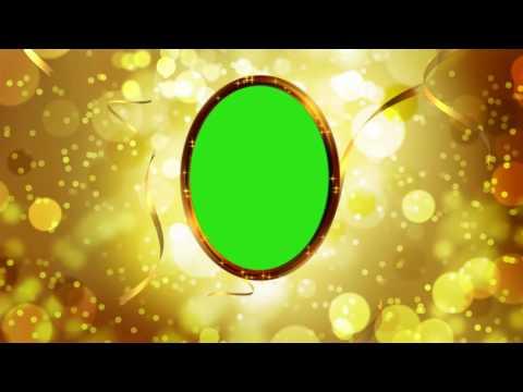 Футаж Рамка золотая  с золотыми мерцающими частицами