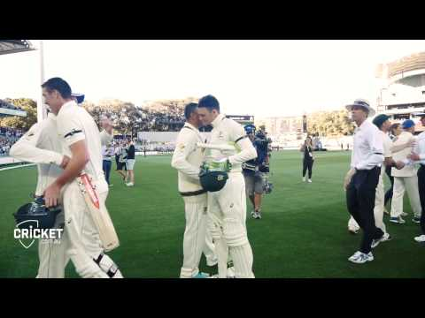 Raw Vision: Players mingle on Adelaide Oval