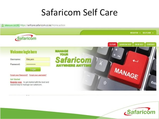 Safaricom Selfcare Login, Safaricom Shop, Mpesa Statement