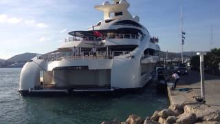 Palladium Mega Yacht Docking in Marina Ibiza 96m Blohm & Voss Superyacht by Source Luxury Yachts