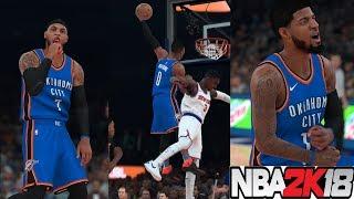 NBA 2K18 Unbelievable Carmelo Trade!!!Carmelo Anthony,Paul George & Russell Westbrook vs Knicks