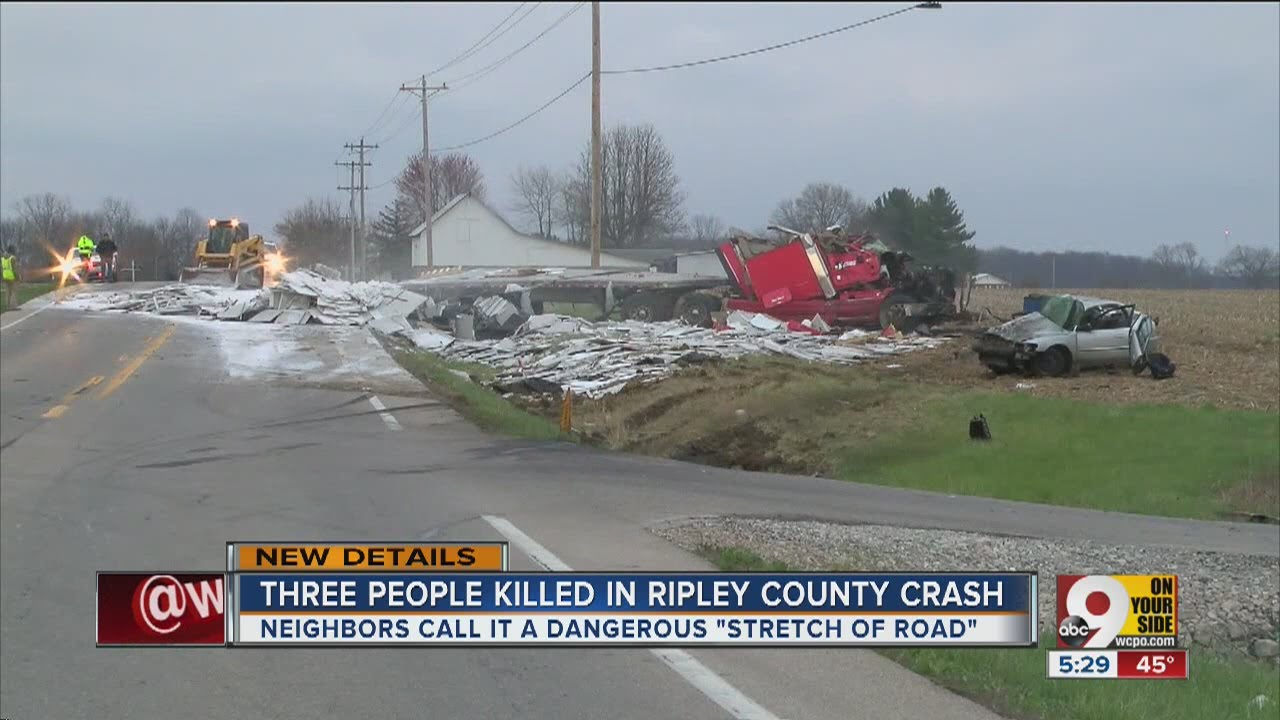 Fatal crash with semi kills 3 on US 50 in Ripley County, Indiana