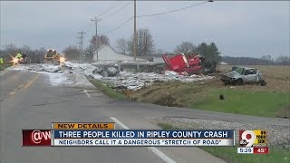 Fatal crash with semi kills 3 on US 50 in Ripley County, Indiana