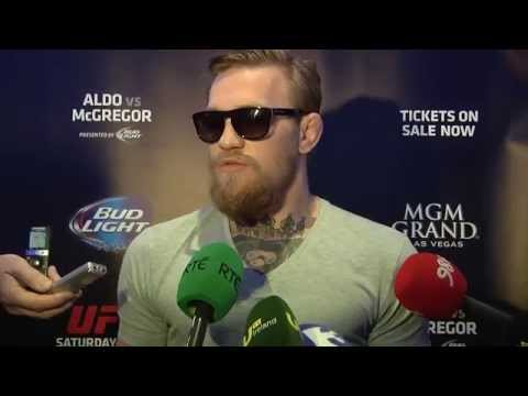 Media Scrum with Conor McGregor in Dublin at UFC 189 World Tour