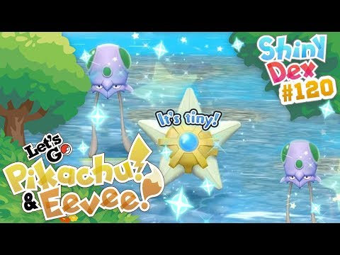 3 SHINIES! SHINY STARYU and TENTACOOL! POKEMON LET'S GO PIKACHU and EEVEE! thumbnail