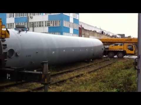 Разгрузка ресивера азота 50тонн - спаренная работа кранов