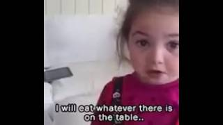 Little girl tells why sh hates not being a Vegan.