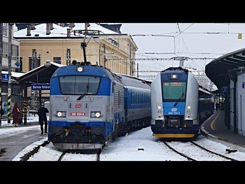 Vlaky Brno hlavní nádraží, 02.02.2017
