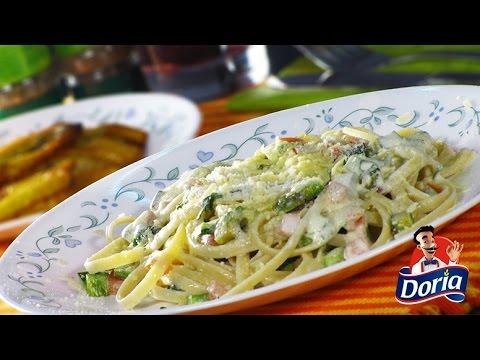 Spaghetti Huevo Doria con Queso Crema y Tomate
