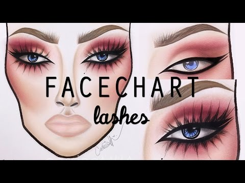 HOW TO DRAW LASHES ON A FACECHART    cassieeMUA