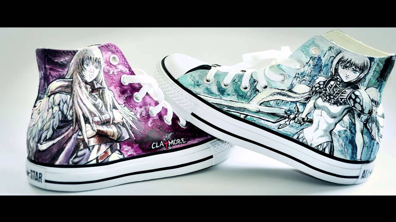 2912b2e21bda Speed up painting - Manga Claymore on Converse - YouTube