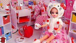 ★토이구마★헬로키티 예쁜 인형집!개봉기 인형옷!리카짱★リカちゃん ハローキティだいすき リカちゃんのおへや★Hello Kitty Doll House