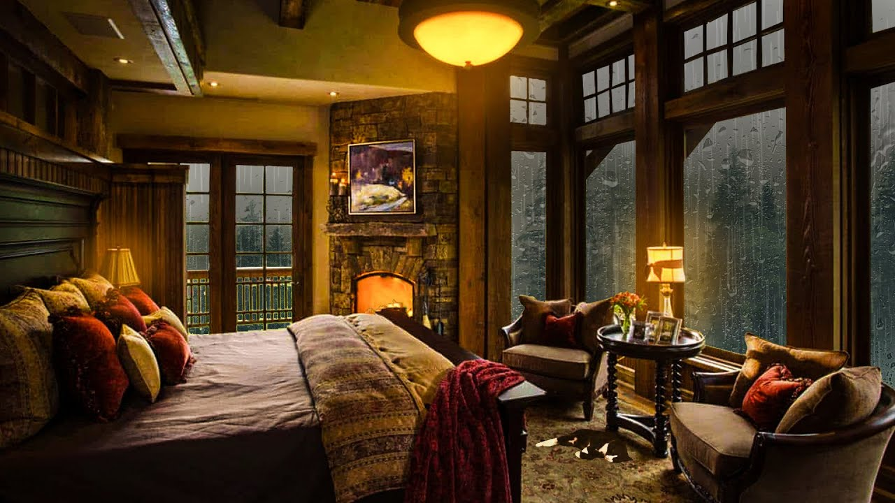Cozy Bedroom on a Rainy Night with Fireplace and Thunderstorm Sounds are so Relaxing!